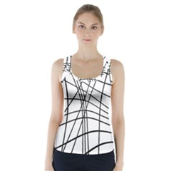 Black And White Decorative Lines Racer Back Sports Top