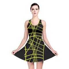 Yellow abstraction Reversible Skater Dress
