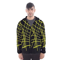 Yellow abstraction Hooded Wind Breaker (Men)