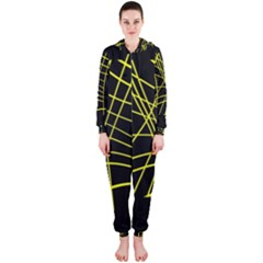 Yellow abstraction Hooded Jumpsuit (Ladies)