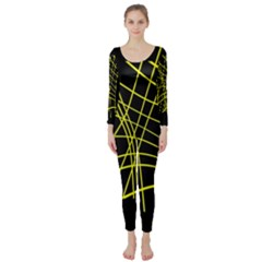 Yellow abstraction Long Sleeve Catsuit
