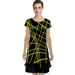 Yellow abstraction Cap Sleeve Nightdress