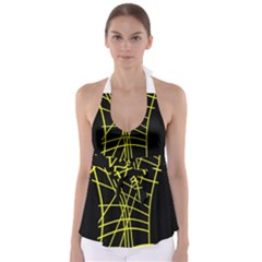 Yellow abstraction Babydoll Tankini Top