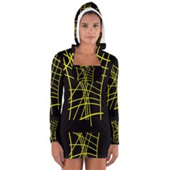 Yellow Abstraction Women s Long Sleeve Hooded T Shirt