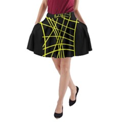Yellow abstraction A-Line Pocket Skirt