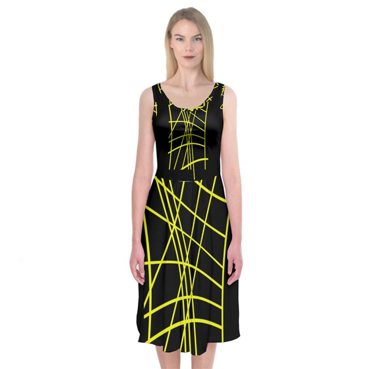 Yellow abstraction Midi Sleeveless Dress
