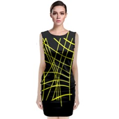 Yellow Abstraction Classic Sleeveless Midi Dress
