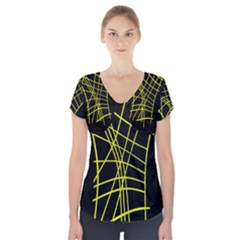 Yellow Abstraction Short Sleeve Front Detail Top