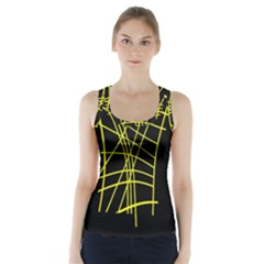 Yellow Abstraction Racer Back Sports Top