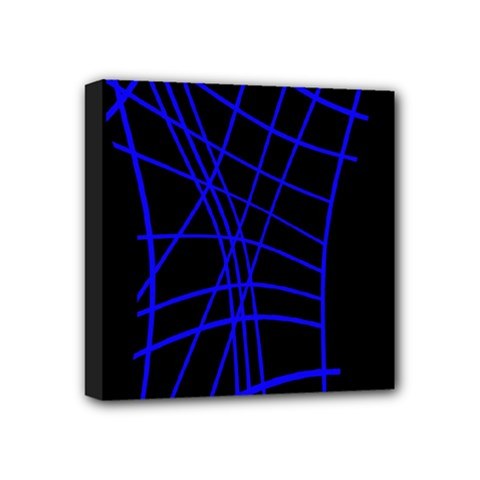 Neon blue abstraction Mini Canvas 4  x 4