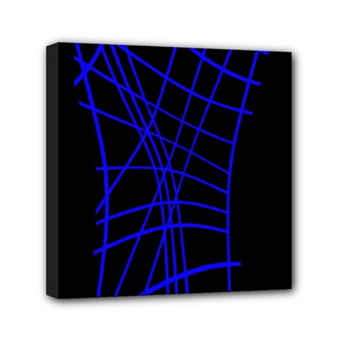 Neon blue abstraction Mini Canvas 6  x 6