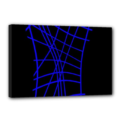 Neon blue abstraction Canvas 18  x 12