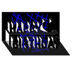 Neon blue abstraction Happy Birthday 3D Greeting Card (8x4)