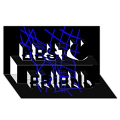 Neon blue abstraction Best Friends 3D Greeting Card (8x4)