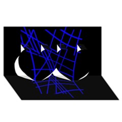 Neon blue abstraction Twin Hearts 3D Greeting Card (8x4)