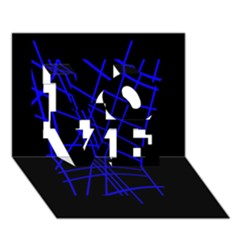Neon blue abstraction LOVE 3D Greeting Card (7x5)