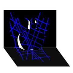 Neon blue abstraction Apple 3D Greeting Card (7x5)