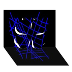 Neon blue abstraction Clover 3D Greeting Card (7x5)