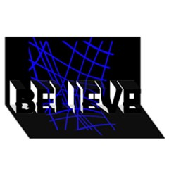 Neon blue abstraction BELIEVE 3D Greeting Card (8x4)