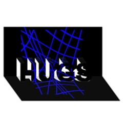 Neon blue abstraction HUGS 3D Greeting Card (8x4)