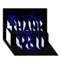 Neon blue abstraction THANK YOU 3D Greeting Card (7x5)