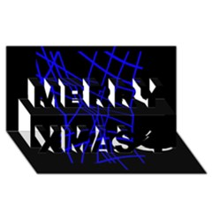 Neon blue abstraction Merry Xmas 3D Greeting Card (8x4)