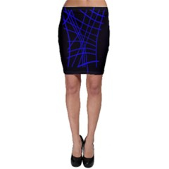 Neon blue abstraction Bodycon Skirt