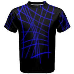 Neon blue abstraction Men s Cotton Tee