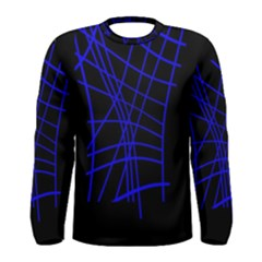 Neon blue abstraction Men s Long Sleeve Tee