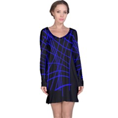 Neon blue abstraction Long Sleeve Nightdress