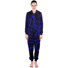 Neon blue abstraction Hooded Jumpsuit (Ladies)