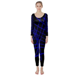 Neon blue abstraction Long Sleeve Catsuit