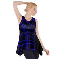 Neon blue abstraction Side Drop Tank Tunic