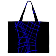 Neon Blue Abstraction Zipper Large Tote Bag