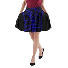 Neon blue abstraction A-Line Pocket Skirt