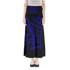 Neon blue abstraction Maxi Skirts