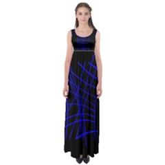 Neon blue abstraction Empire Waist Maxi Dress