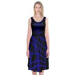 Neon Blue Abstraction Midi Sleeveless Dress