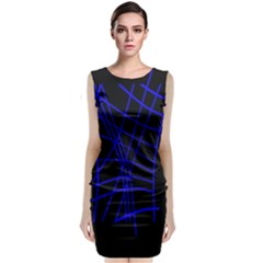 Neon Blue Abstraction Classic Sleeveless Midi Dress