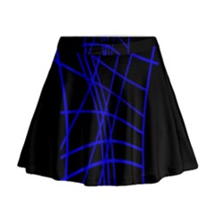 Neon blue abstraction Mini Flare Skirt