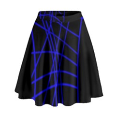 Neon Blue Abstraction High Waist Skirt
