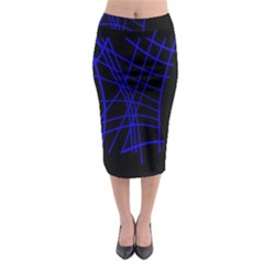 Neon Blue Abstraction Midi Pencil Skirt