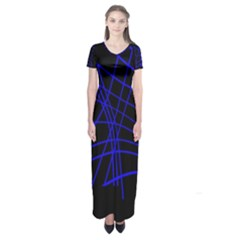 Neon Blue Abstraction Short Sleeve Maxi Dress