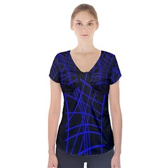 Neon Blue Abstraction Short Sleeve Front Detail Top