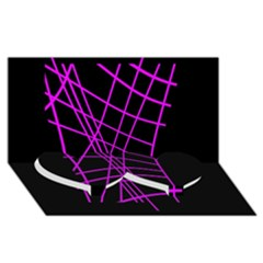 Neon purple abstraction Twin Heart Bottom 3D Greeting Card (8x4)