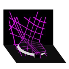 Neon Purple Abstraction Circle Bottom 3d Greeting Card (7x5)