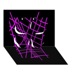 Neon purple abstraction Clover 3D Greeting Card (7x5)