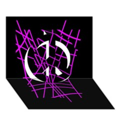 Neon purple abstraction Peace Sign 3D Greeting Card (7x5)