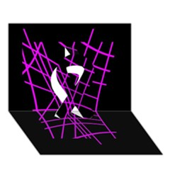 Neon purple abstraction Ribbon 3D Greeting Card (7x5)