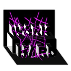 Neon purple abstraction WORK HARD 3D Greeting Card (7x5)